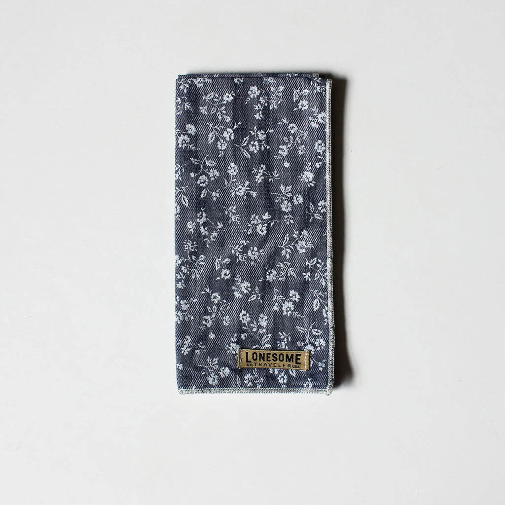 White Floral on Blue Chambray Pocket Square