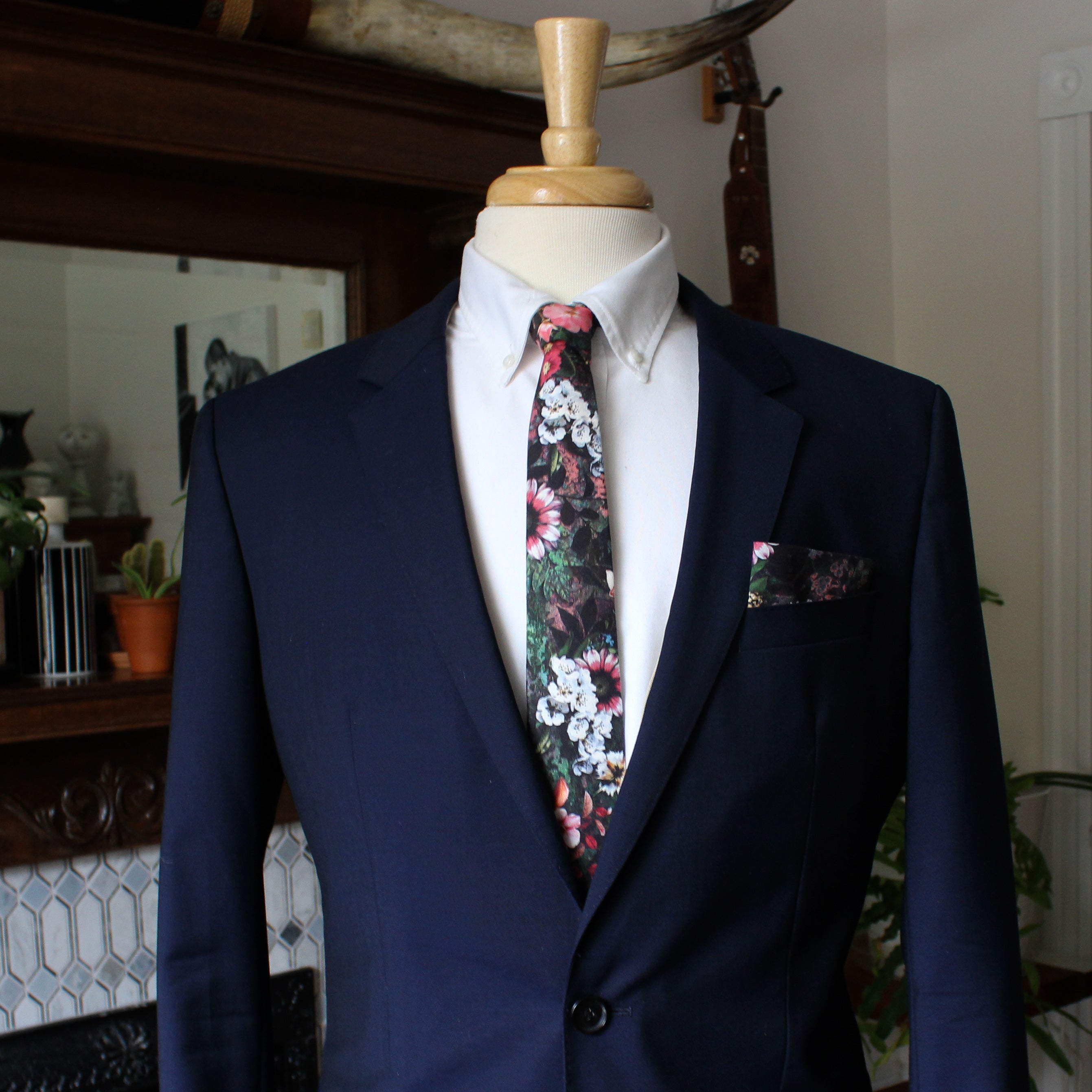 Midnight Reverie Floral Necktie