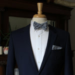 White Floral on Blue Chambray Bow Tie