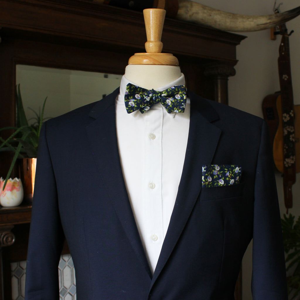 Morning Glory on Navy Bow Tie
