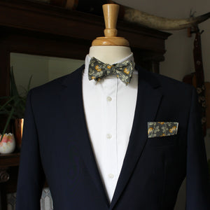 Marigold on Gray Bow Tie