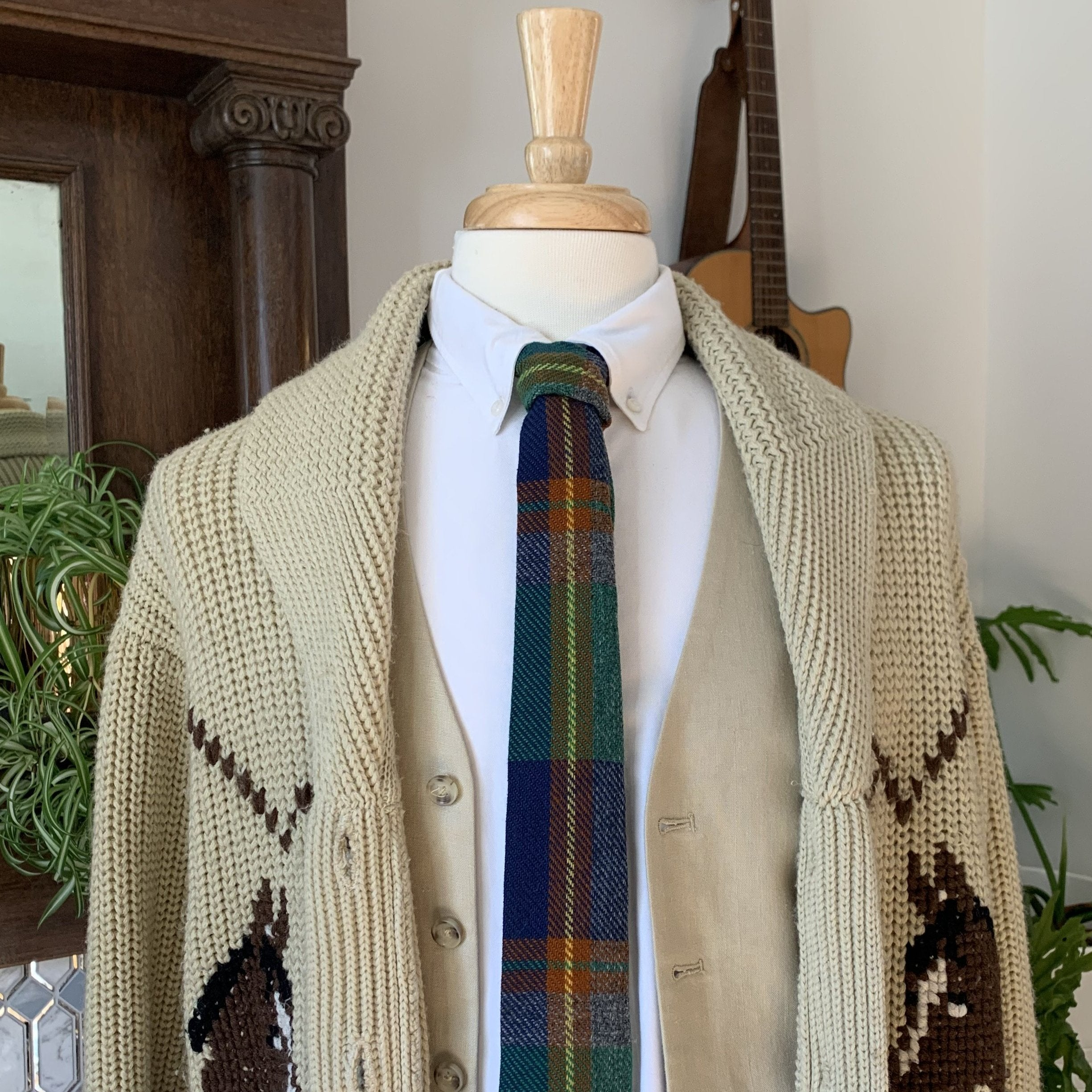 Vintage Wool Plaid tribute tie