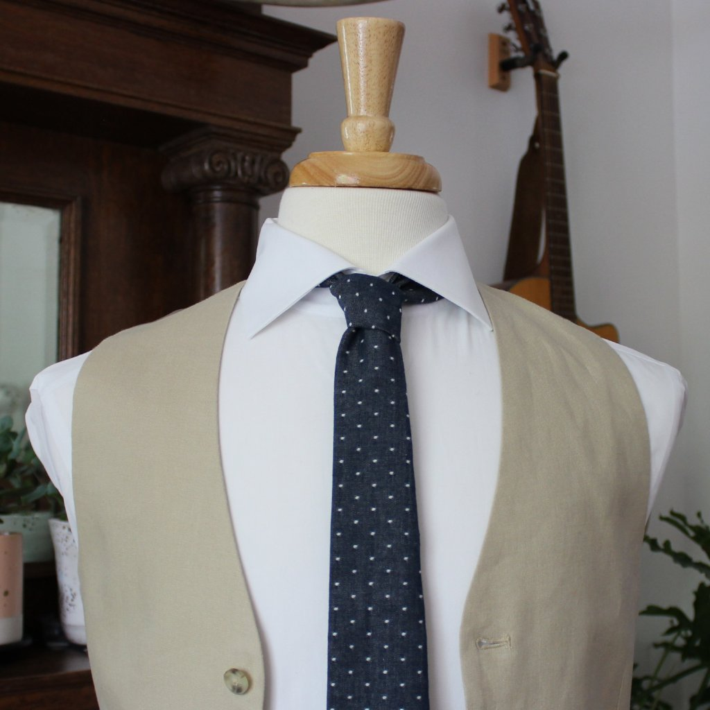 Navy Chambray Dot Necktie