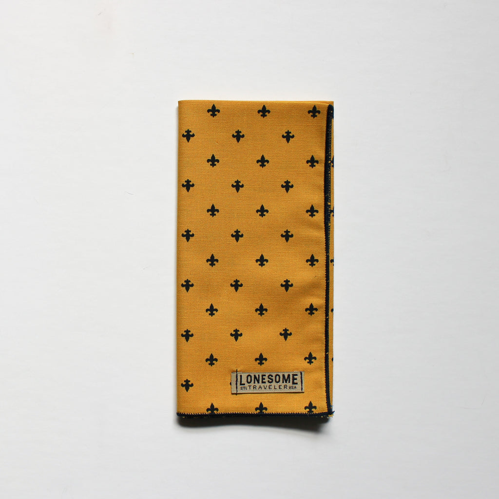 Mustard and Navy Fleur de Lis Pocket Square