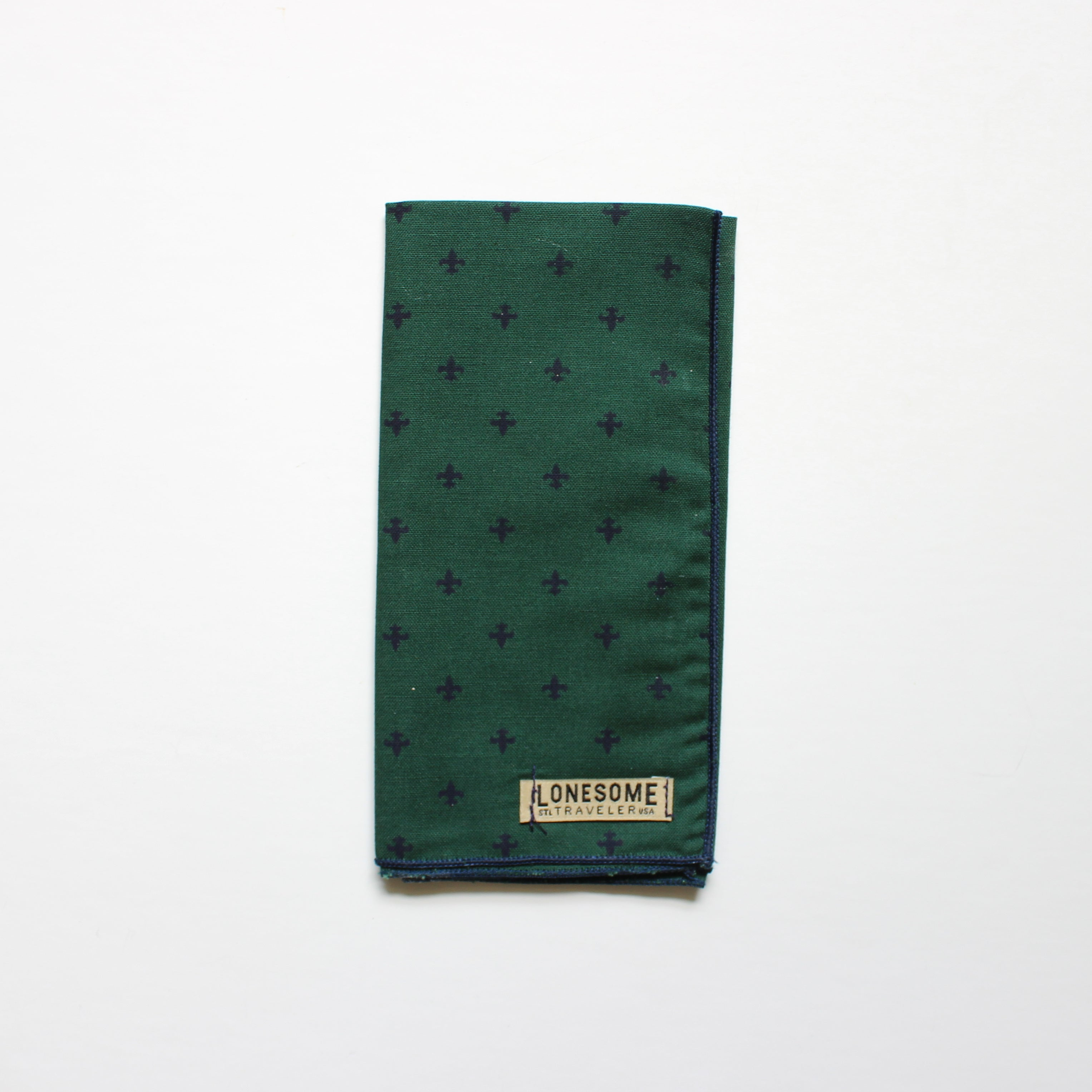Forest Green and Navy Fleur de Lis Pocket Square