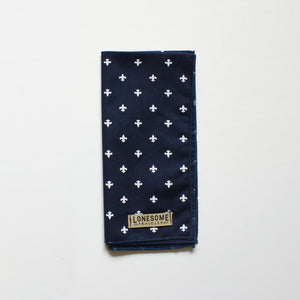 Navy and White Fleur de Lis Pocket Square