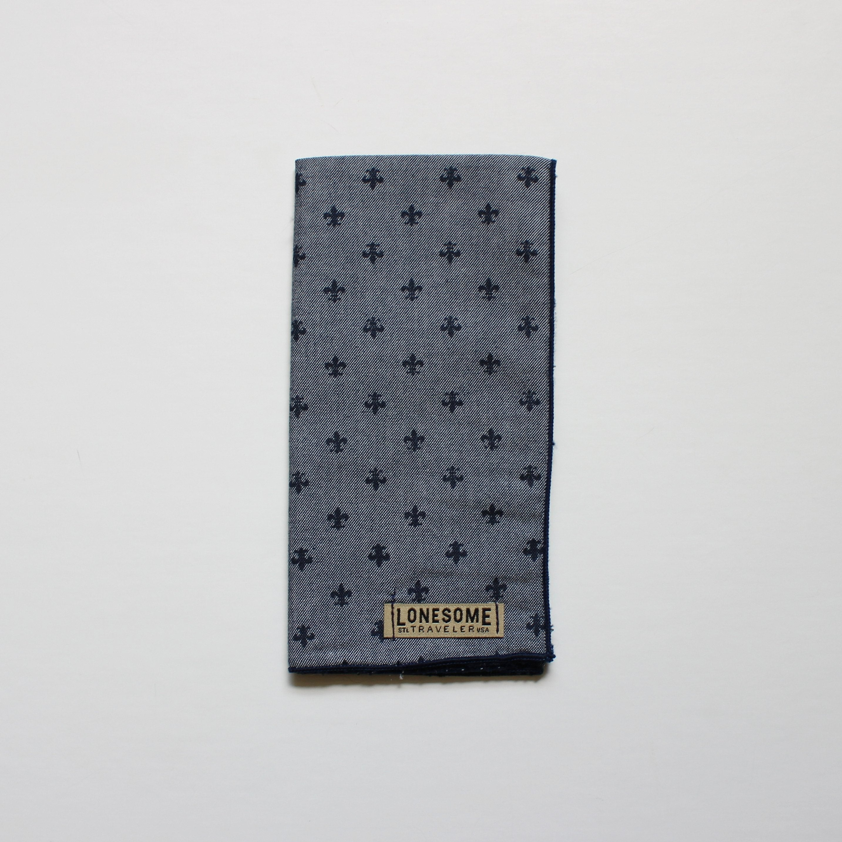 Chambray and Navy Fleur de Lis Pocket Square