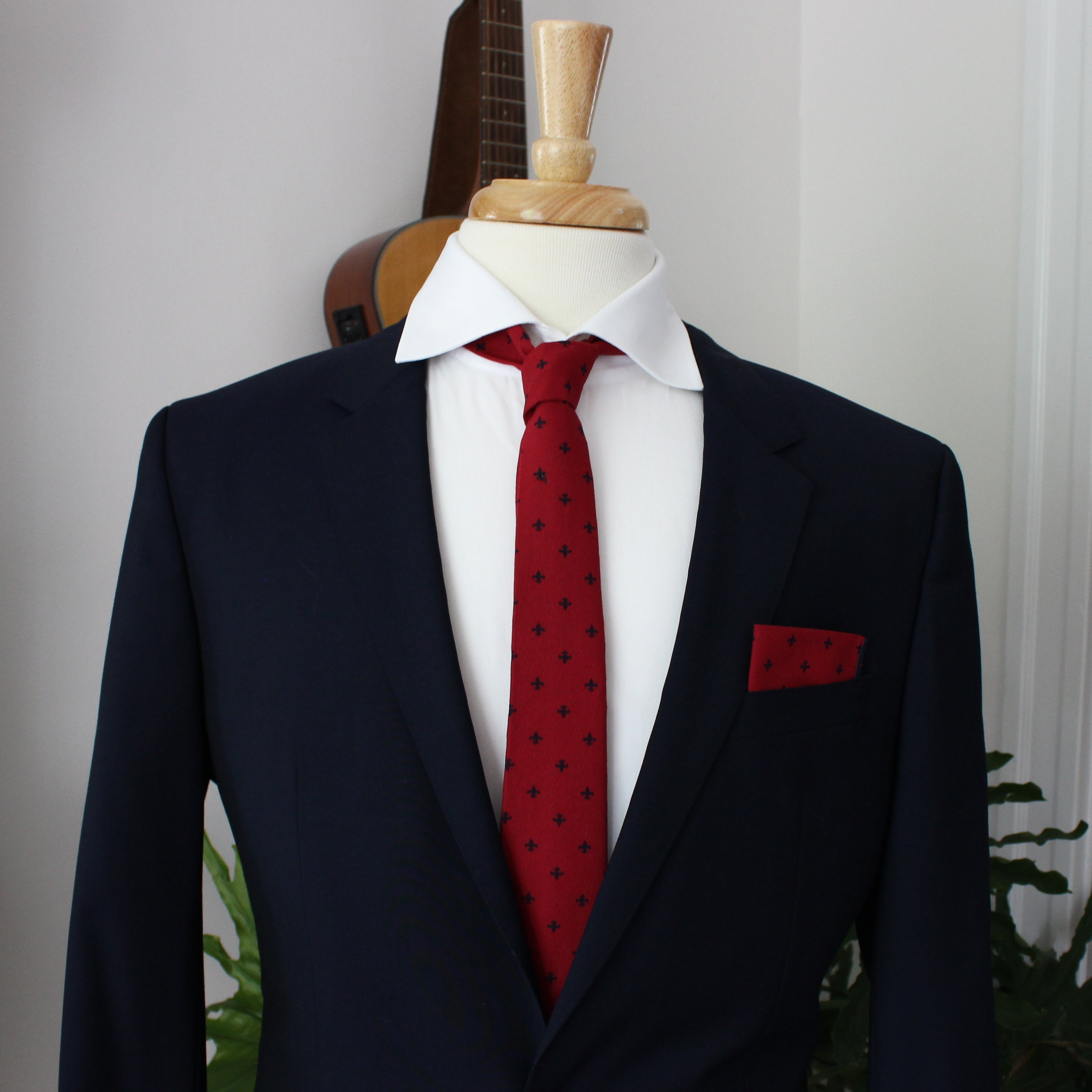 Cardinal Red and Navy Fleur de Lis Pocket Square