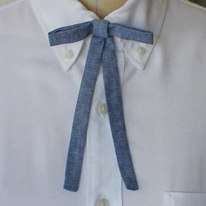 Blue Chambray Western Bow Tie