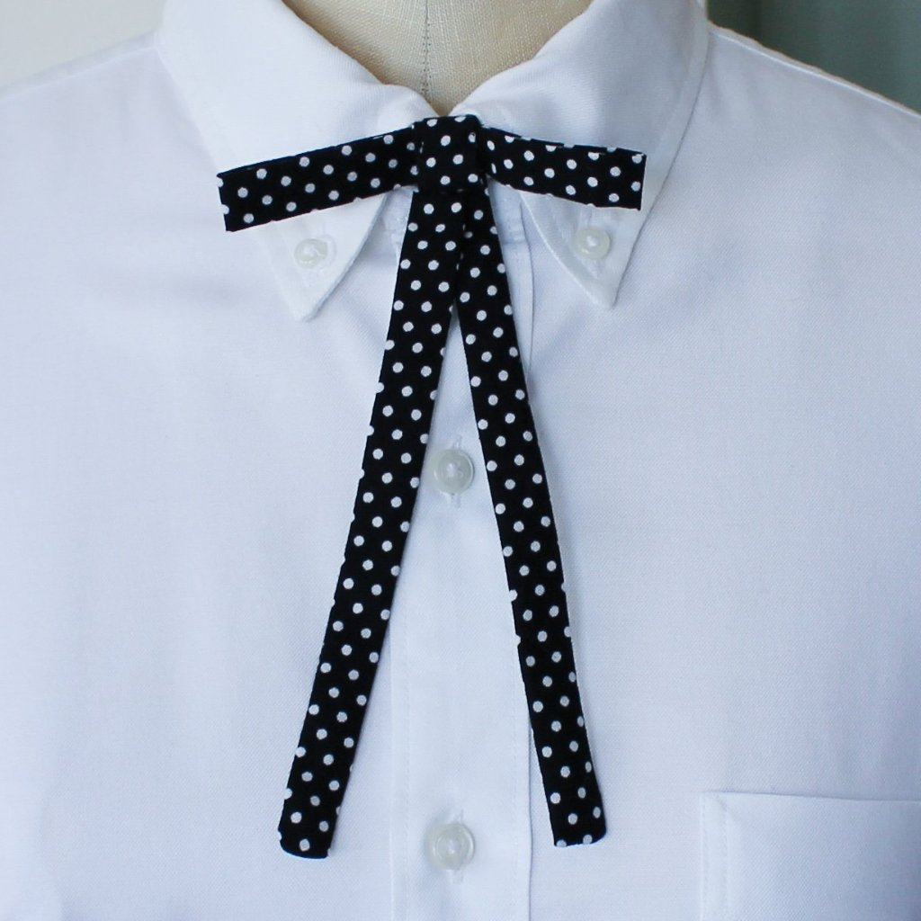 Black & White Polka Dot Western Bow Tie