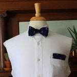 Navy and white Anchor bow tie