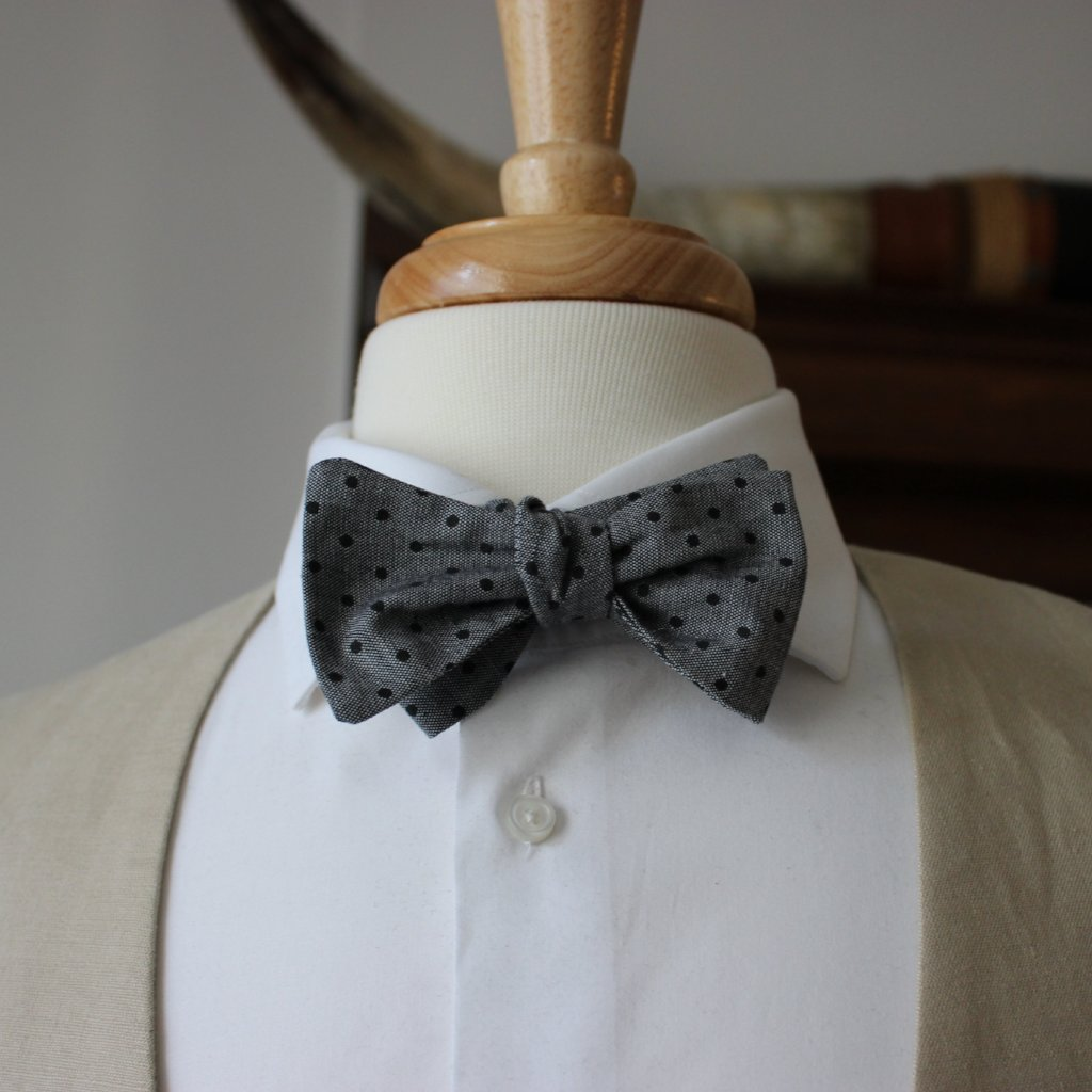 Black Dot on Chambray Bow Tie
