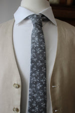 White Floral on Gray Chambray Necktie