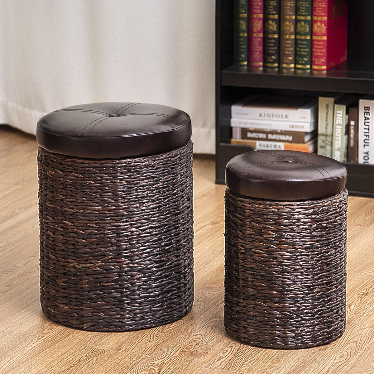 ... 2 Pcs Rattan Leather Seating Storage Stools Ottoman