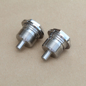 a pair of fork top caps for honda super dream in stainless steel.