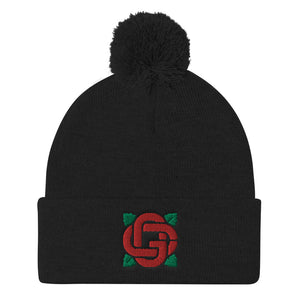 Flower Logo Pom Beanie Romantic