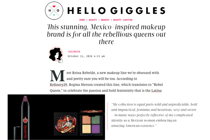 Hello Giggles calls Reina Rebelde a stunning, Mexico-inspired brand