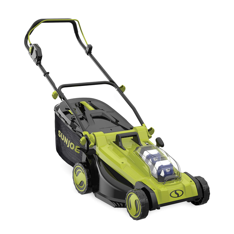 Sun Joe 24V-X2-17LM 48V iON 17 in Cordless Mulching Lawn Mower w/Grass Catcher, Green