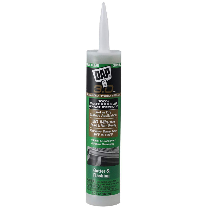 DAP 18377 3.0 Crystal Clear Premium Gutter and Flashing Sealant, 9 oz, Crystal Clear