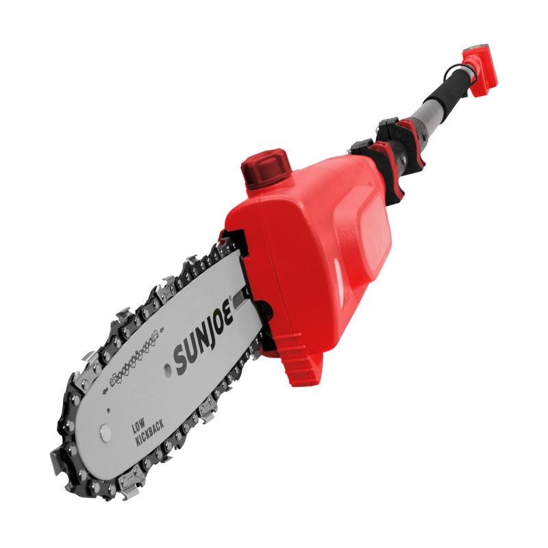 Sun Joe 20VIONLT-PS8-RED Cordless Telescoping Pole Chain Saw | 8-inch | 2.5-Amp | 20-Volt (Red)