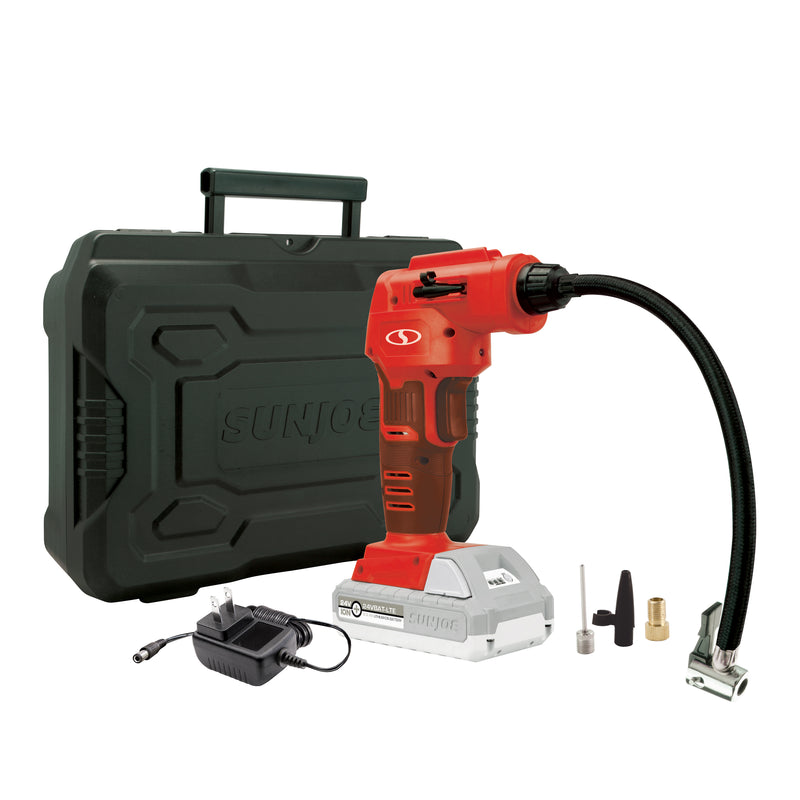 Sun Joe AIRJ24C-RED Portable Digital Cordless Air Compressor with Nozzle Adapters and Case | 24-Volt | 2.0-Ah (Red)