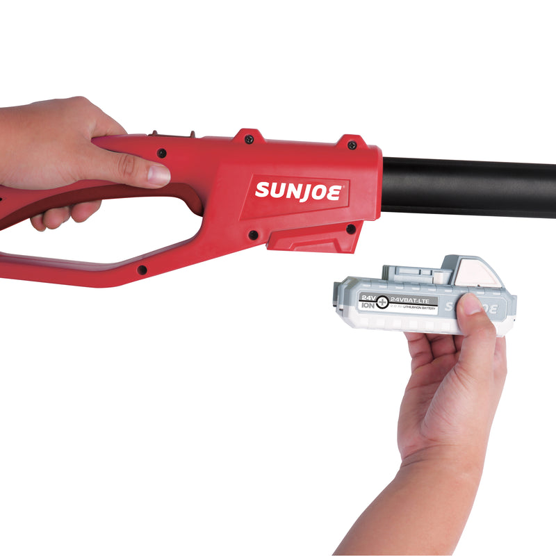 Sun Joe 24V-PS8-LTE-RED Cordless Telescoping Pole Chainsaw | 24-Volt | 8-Inch | 2-Ah (Red)