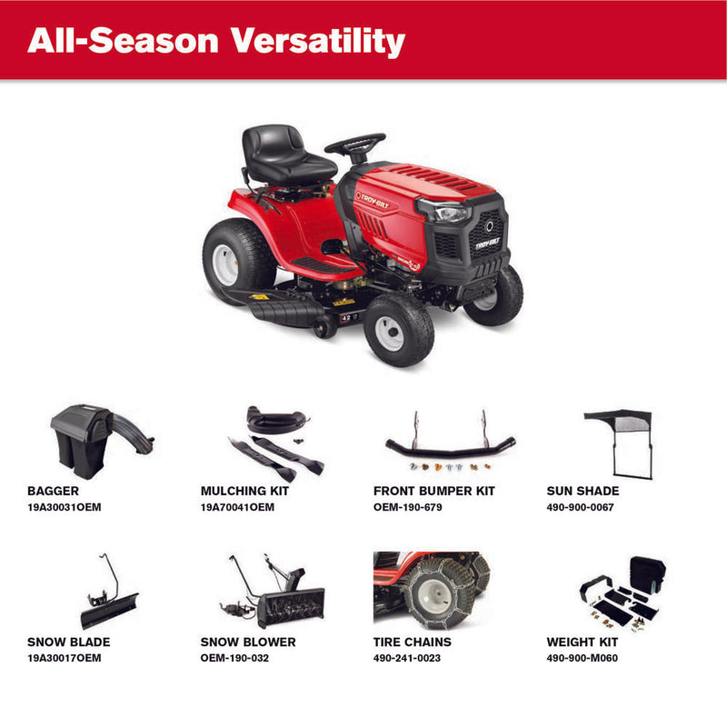 Troy-Bilt Bronco 42 in. 19 HP Briggs & Stratton Automatic Drive Gas Riding Lawn Tractor with Mow in Reverse