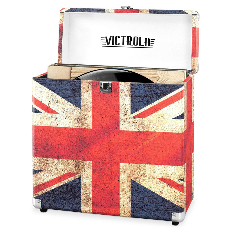 Victrola Vintage Vinyl Record Storage Carrying Case for 30+ Records, UK Flag (Certified Refurbished)