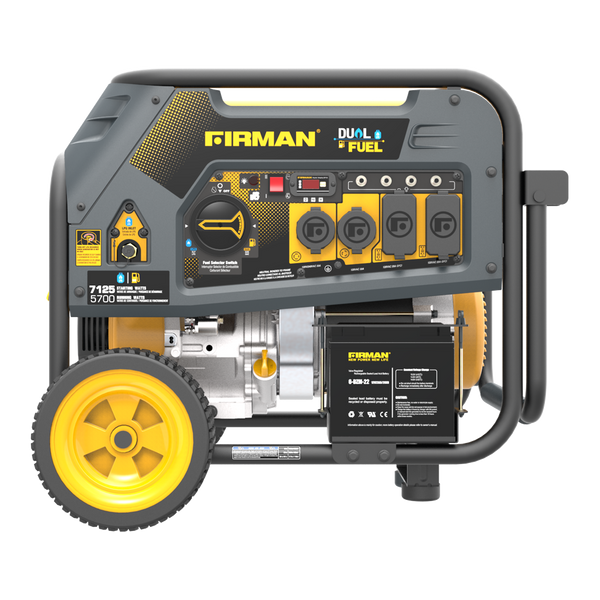 Firman H05751 7125/5700 Watt 120/240V Electric Start Gas or Propane Dual Fuel Portable Generator CARB Certified With Wheel Kit