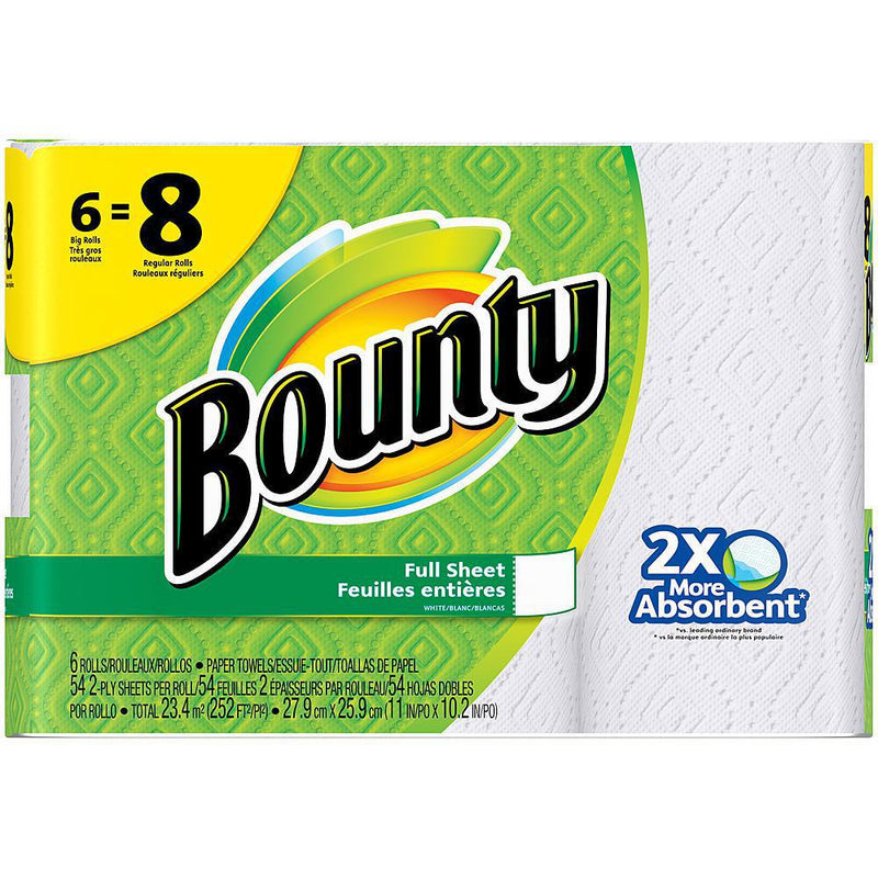 Bounty Paper Towels, White, 6 Big Rolls =8 Regular Rolls