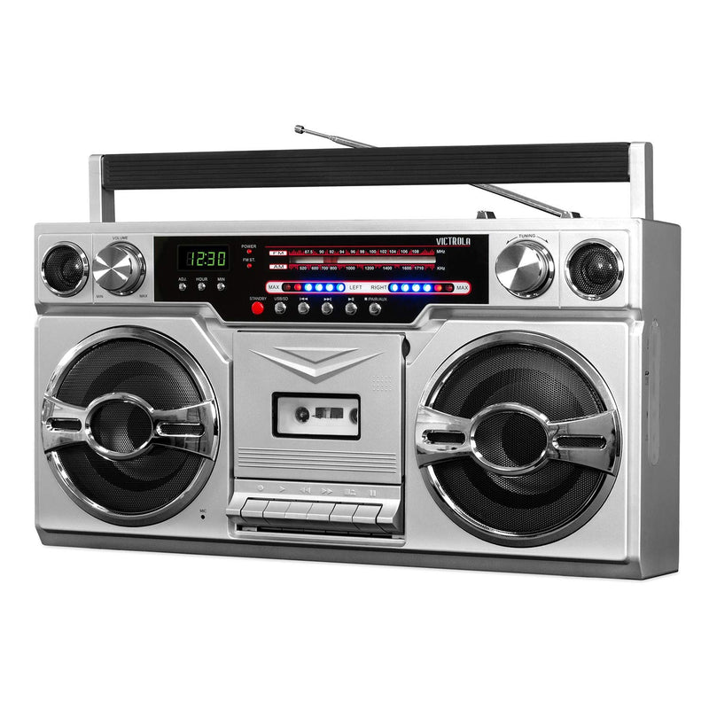Victrola VBB-10-SLV 1980's Bluetooth Boombox with Cassette Player and AM/FM Radio, Silver (Renewed)