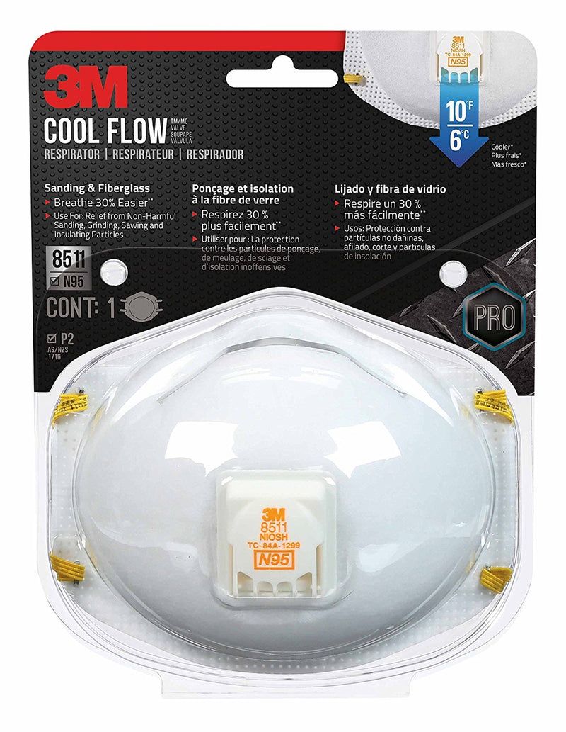 3M Respirator Mask, 8511, N95 Cool Flow Exhalation Valve (5-Pack)