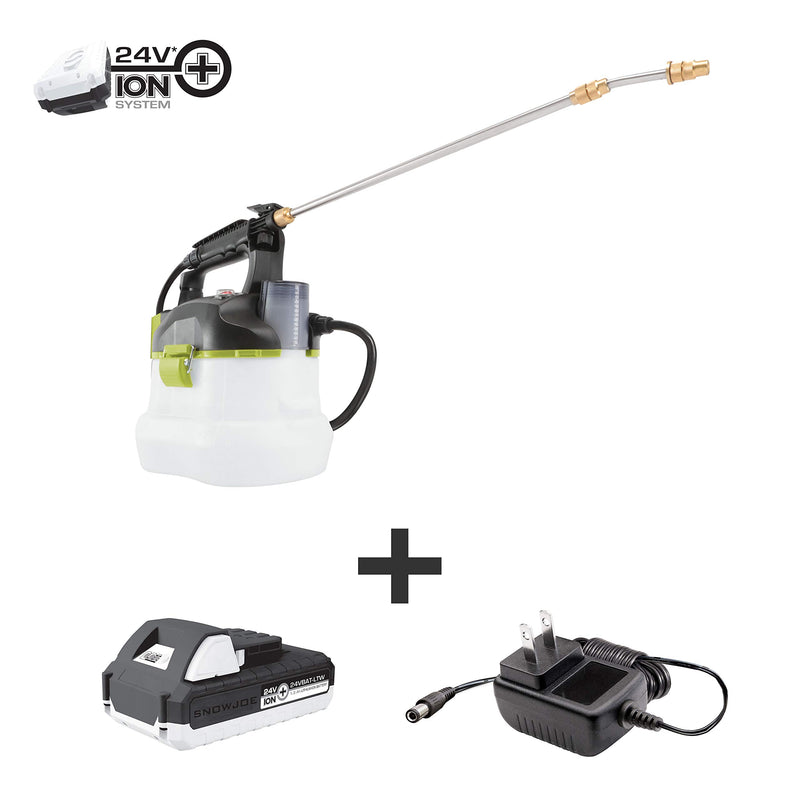 Sun Joe 24V-GS-LTW 24-Volt iON+ Multi-Purpose Chemical Sprayer Kit | W/ 1.3-Ah Battery and Charger