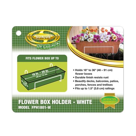 Sun Joe Deco Joe Flower Box Holder in White