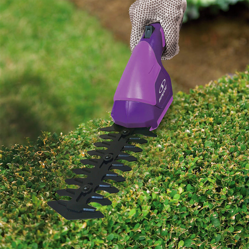 Sun Joe HJ604C-PRP 2-in-1 Cordless Grass Shear + Hedger | 7.2 V (Purple)