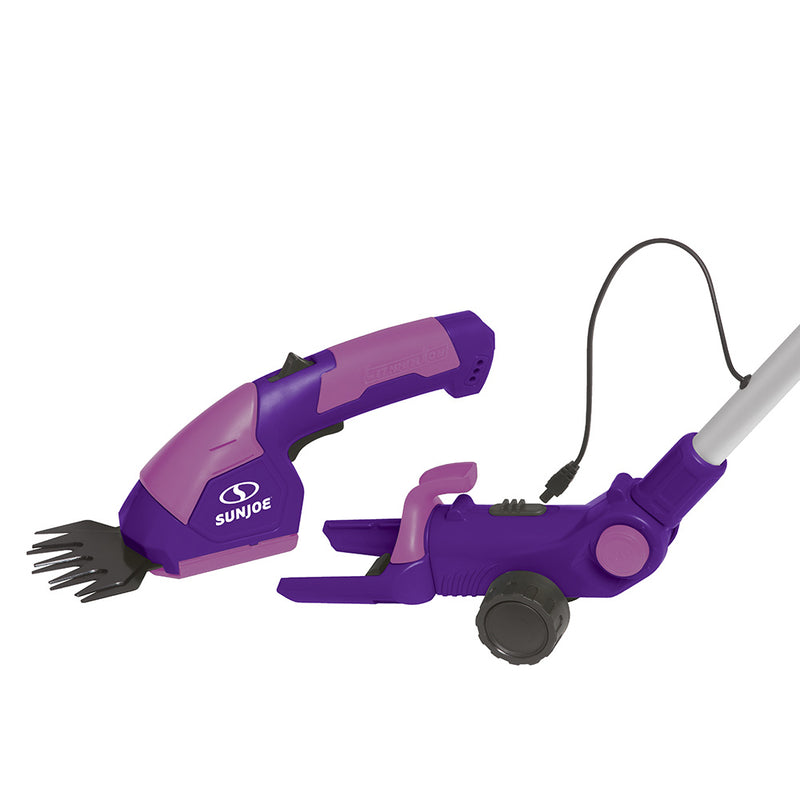Sun Joe HJ605CC-PRP 2-in-1 Cordless Telescoping Grass Trimmer | 7.2 Volt (Purple)