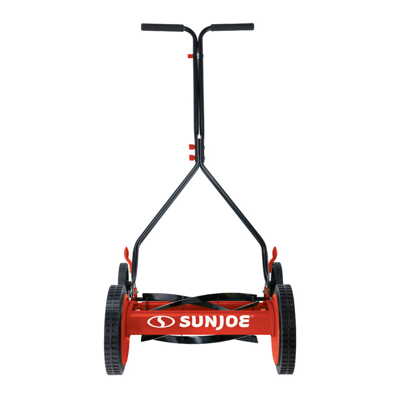 Sun Joe MJ503M-RED Manual Reel Mower | 14-Inch | Quad Wheel | 9-Position (Red)