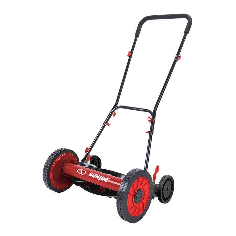 Sun Joe MJ504M-RED Manual Reel Mower w/o Grass Catcher | 16 inch | 9 Height Positions (Red)
