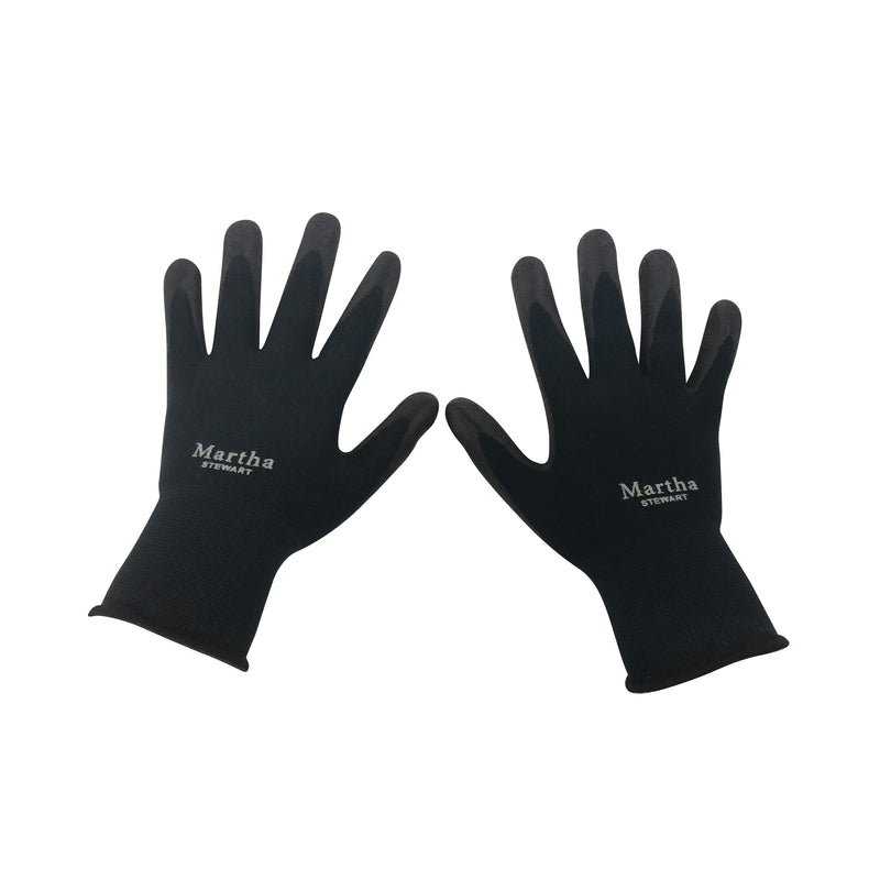 Martha Stewart MTS-GLVNP-BK-M Garden Gloves Three Pair Pack (Medium, Black)