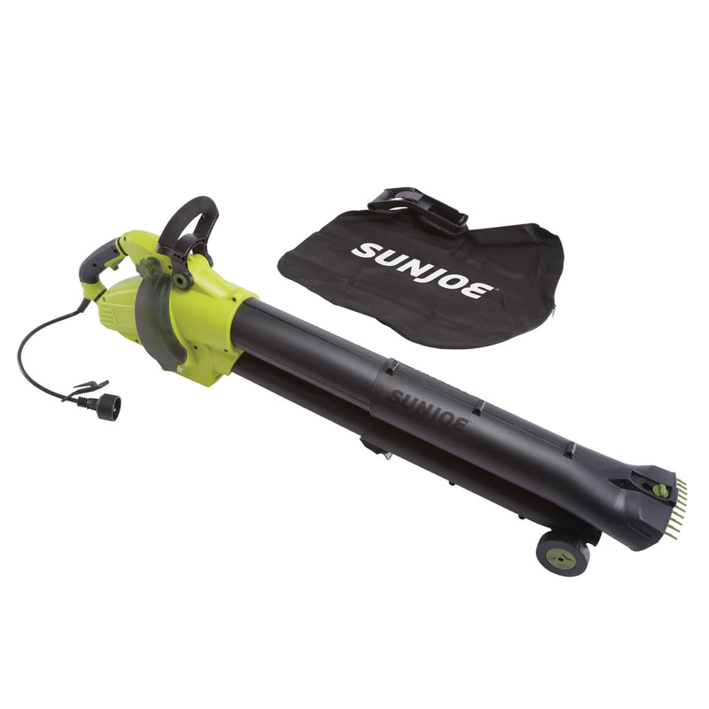 Sun Joe SBJ702E 3-in-1 Outdoor Variable Speed Electric Blower | 250 MPH | 13 Amp | Vacuum | Mulcher | Telescoping Frame | Leaf Grabbing Teeth