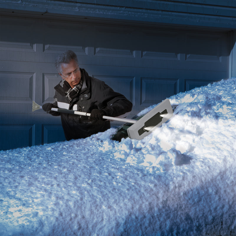 Snow Joe SJBLZD-LED-GRY 4-In-1 Telescoping Snow Broom + Ice Scraper | 18-Inch Foam Head | Headlights (Grey)