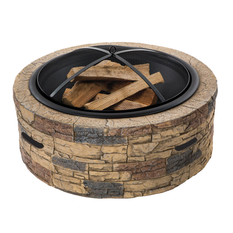 Sun Joe SJFP35-STN 35-In. Cast Stone Base, Wood Burning Fire Pit w/Dome Screen and Poker, Natural Stone
