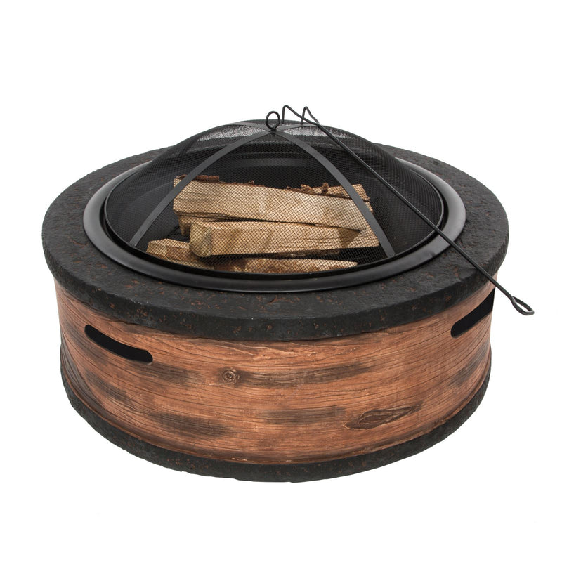 Sun Joe SJFP28-STN-RW 28-Inch Cast Stone Base, Wood Burning 24-Inch Fire Pit w/Dome Screen and Poker, Rustic Wood