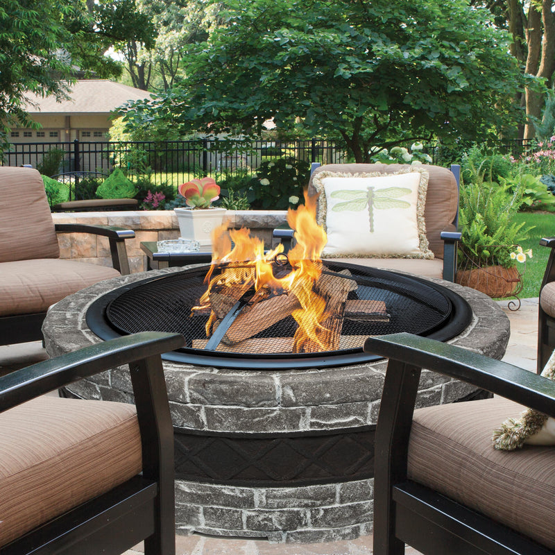 Sun Joe SJFP35-CS-STN 35-Inch Cast Stone Base, Wood Burning Fire Pit w/Dome Screen and Poker, Charcoal Stone