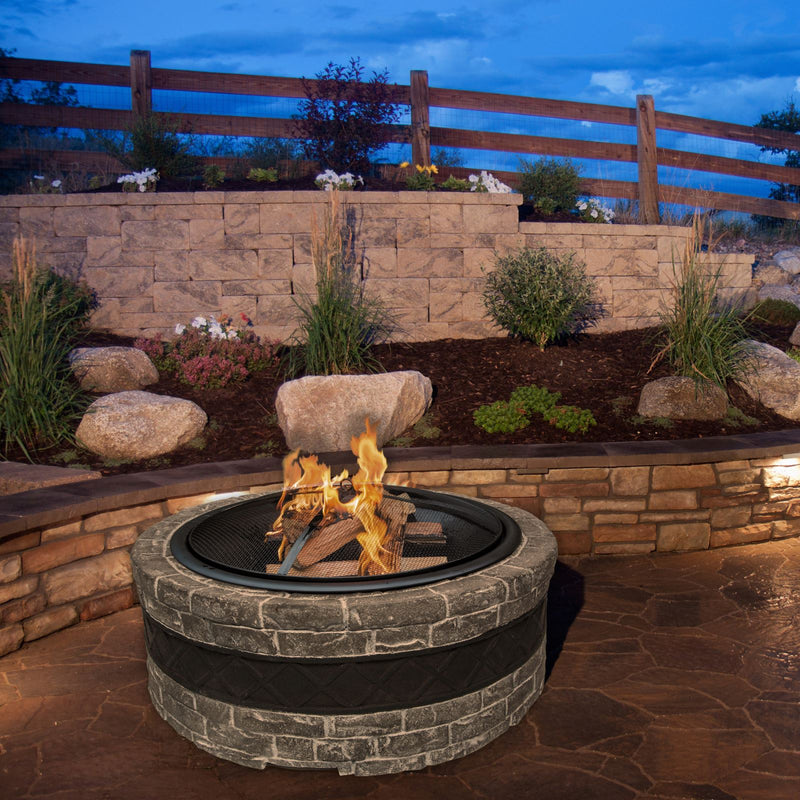 Sun Joe SJFP28-STN-CS 28-Inch Cast Stone Base, Wood Burning 24-Inch Fire Pit w/Dome Screen and Poker, Charcoal Gray