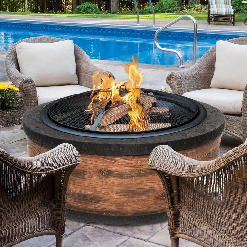 Sun Joe SJFP35-RW-STN 35-Inch Cast Stone Base, Wood Burning Fire Pit w/Dome Screen and Poker, Rustic Wood