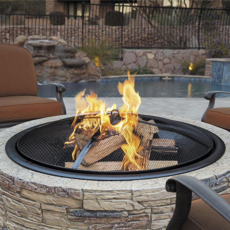 Sun Joe SJFP28-STN-CL 28-Inch Cast Stone Base, Wood Burning 24-Inch Fire Pit w/Dome Screen and Poker, Classic Stone