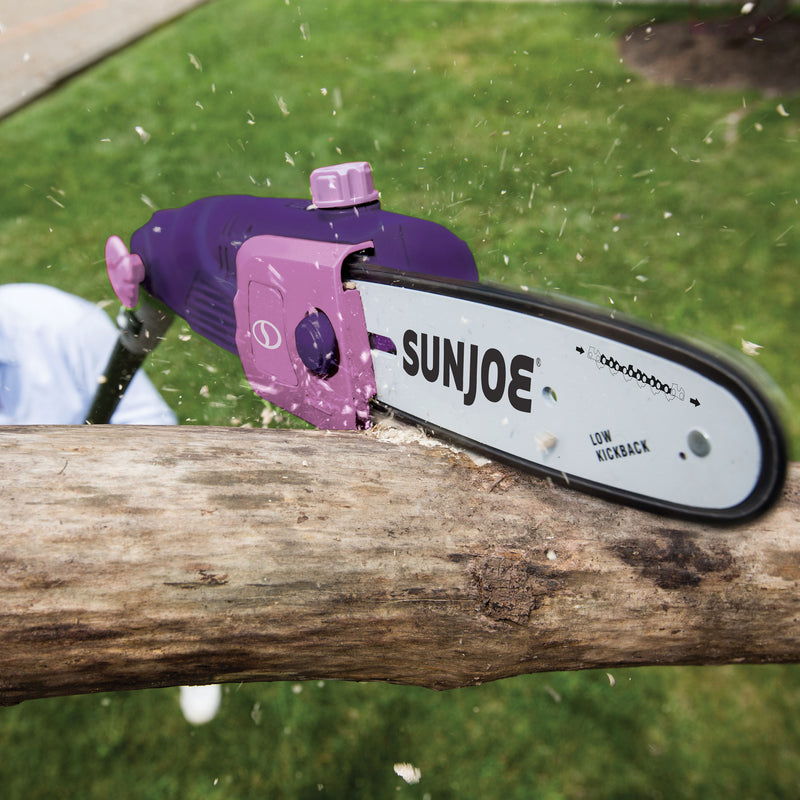 Sun Joe SWJ803E-PRP Electric Multi-Angle Pole Chain Saw | 10 inch | 8.0 Amp (Purple)