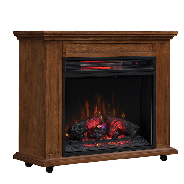 Duraflame Rolling Mantel with Infrared Quartz Fireplace, Premium Oak