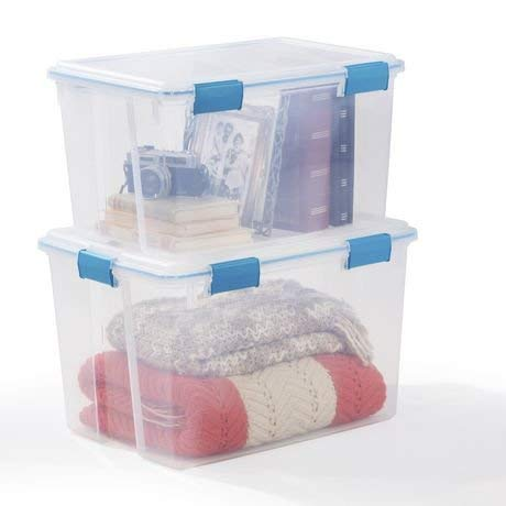 Sterilite 19324306 20qt Gasket Box with Latches Clear/Blue